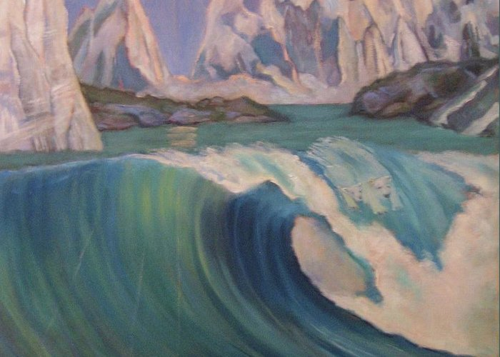 Ocean Wave Greeting Card featuring the painting Arctic Ocean Glaciers by D Marie LaMar