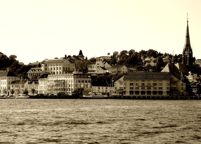 Architecture Greeting Card featuring the photograph Arendal Cityscape by Nina Fosdick