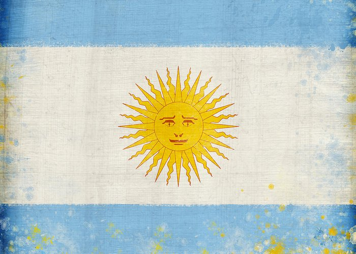 Chalk Greeting Card featuring the painting Argentina Flag by Setsiri Silapasuwanchai