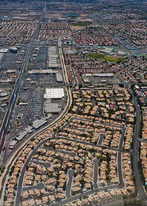 Greeting Card featuring the digital art Arial View Of Las Vegas by Susan Stone