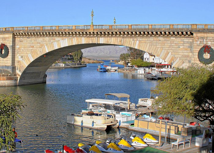 Lake Havasu Greeting Card featuring the photograph Arizona Import - Iconic London Bridge by Christine Till