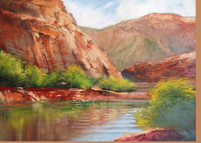 Landscape Greeting Card featuring the painting Around The Bend by Robert Carver
