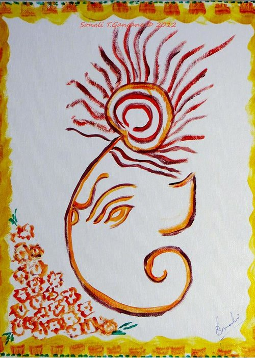 Artistic lord ganesha greeting card for sale by sonali gangane lord ganesha embellished with a peacock feather crown greeting card featuring the painting artistic lord ganesha m4hsunfo