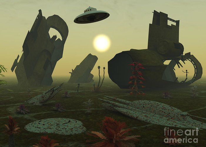 Artists concept of an alien scrap yard greeting card for sale by imagination greeting card featuring the digital art artists concept of an alien scrap yard by mark m4hsunfo