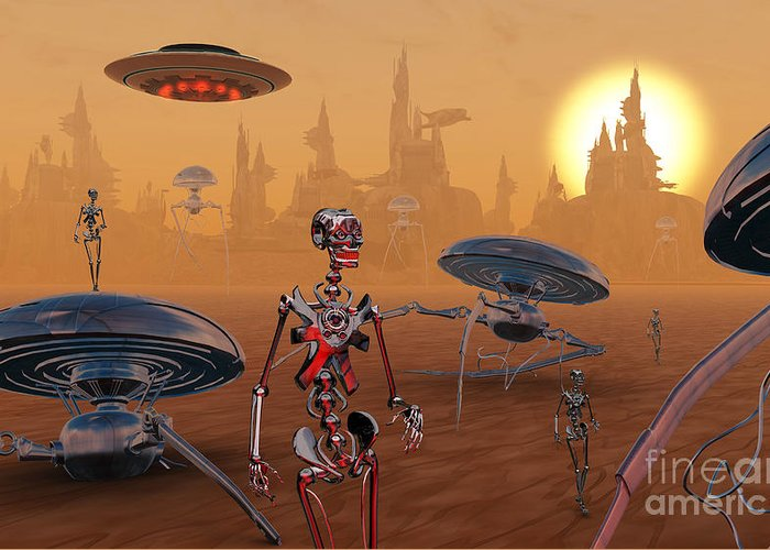 Digitally Generated Image Greeting Card featuring the digital art Artists Concept Of Life On Mars Long by Mark Stevenson