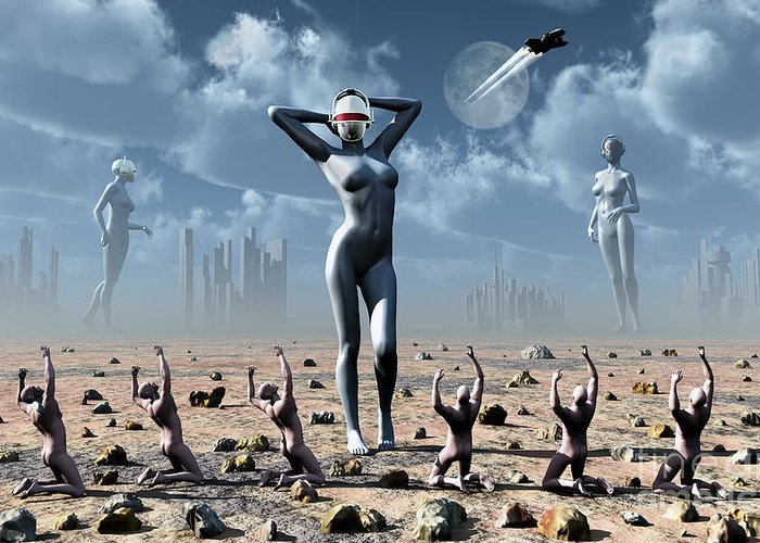 Religion Greeting Card featuring the digital art Artists Concept Of Mankinds Reliance by Mark Stevenson