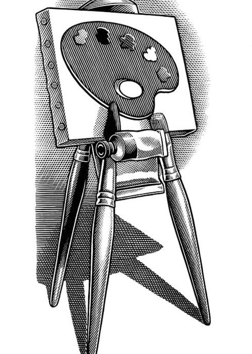 Equipment Greeting Card featuring the photograph Artist's Easel, Artwork by Bill Sanderson