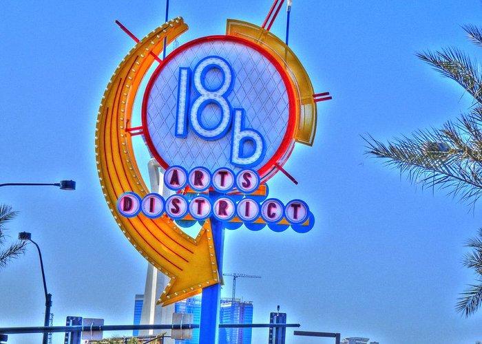 Art District Las Vegas Greeting Card featuring the digital art Artsy by Barry R Jones Jr