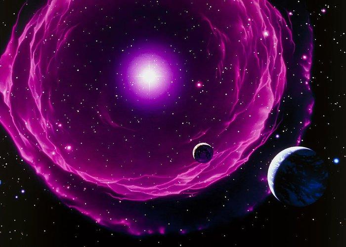Sun Greeting Card featuring the photograph Artwork Of A Future Sun Ejecting Planetary Nebula by Joe Tucciarone