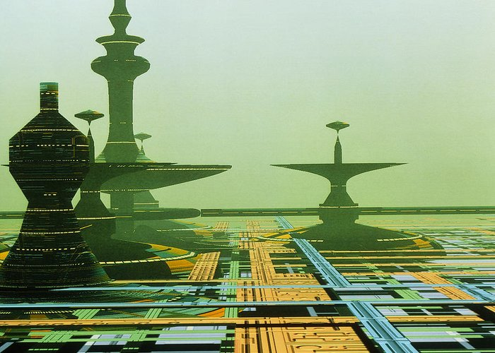 City Greeting Card featuring the photograph Artwork Of An Alien City On A Circuit Board by Julian Baum