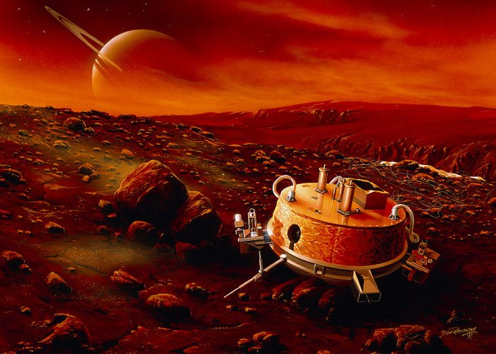 Huygens Probe Greeting Card featuring the photograph Artwork Of Huygens Probe On The Surface Of Titan by Detlev Van Ravenswaay