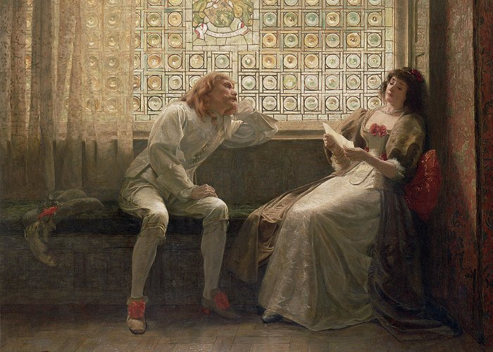 Male; Female; Lovers; Love Letter; Interior; Window Seat; Stained Glass; Lovestruck; Romantic Comedy; Curtain; Shoes; Costume; Corsage; Wistful Greeting Card featuring the painting 'as You Like It' by Charles C Seton