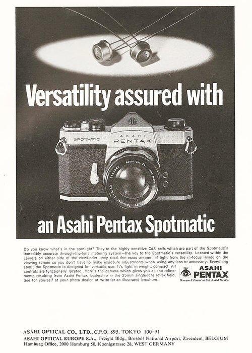 Asahi Greeting Card featuring the digital art Asahi Pentax Spotmatic by Georgia Fowler