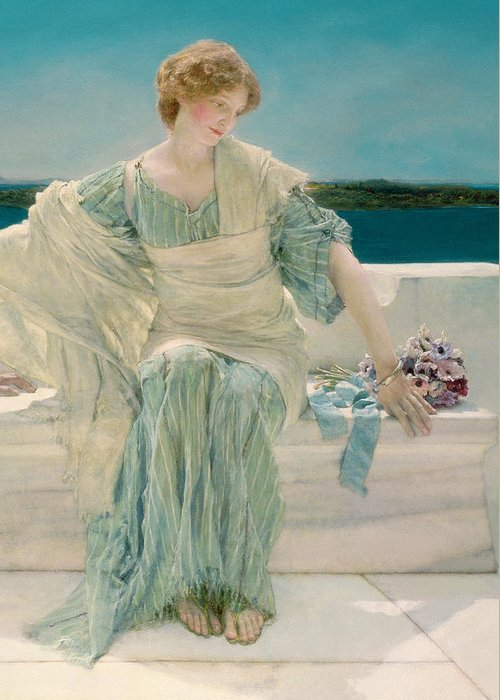 Ask Greeting Card featuring the painting Ask Me No More by Sir Lawrence Alma-Tadema