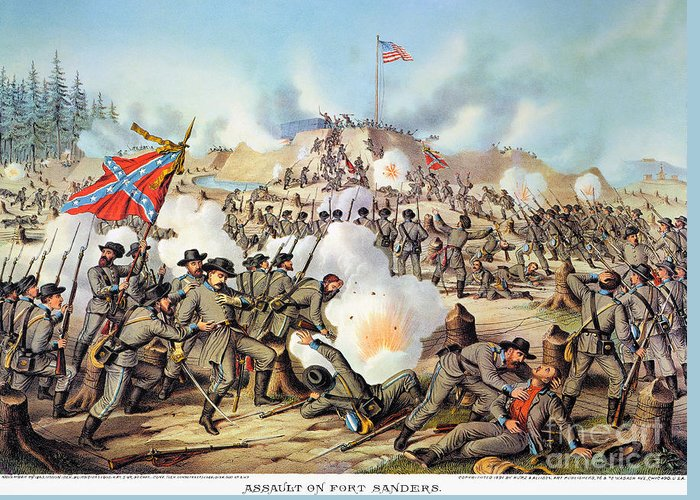 1863 Greeting Card featuring the photograph Assault On Fort Sanders by Granger
