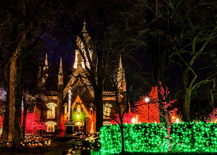 Slc Temple Photography Greeting Card featuring the photograph Assembly Hall Slc Christmas by La Rae Roberts