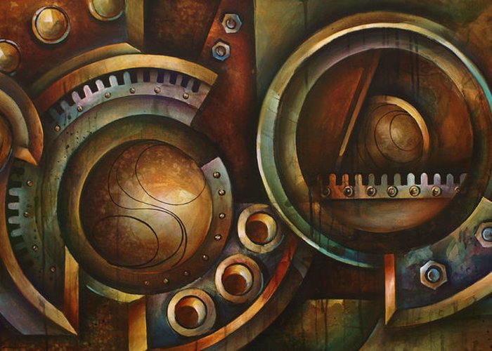 Mechanical Greeting Card featuring the painting 'assembly Required' by Michael Lang