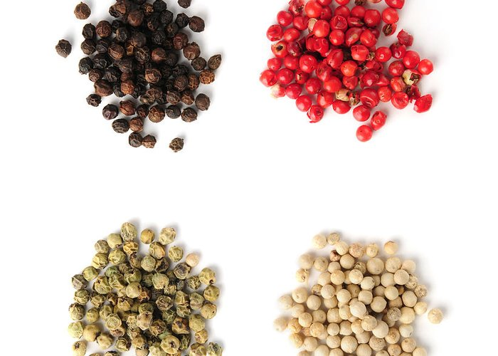 Peppercorns Greeting Card featuring the photograph Assorted Peppercorns by Elena Elisseeva