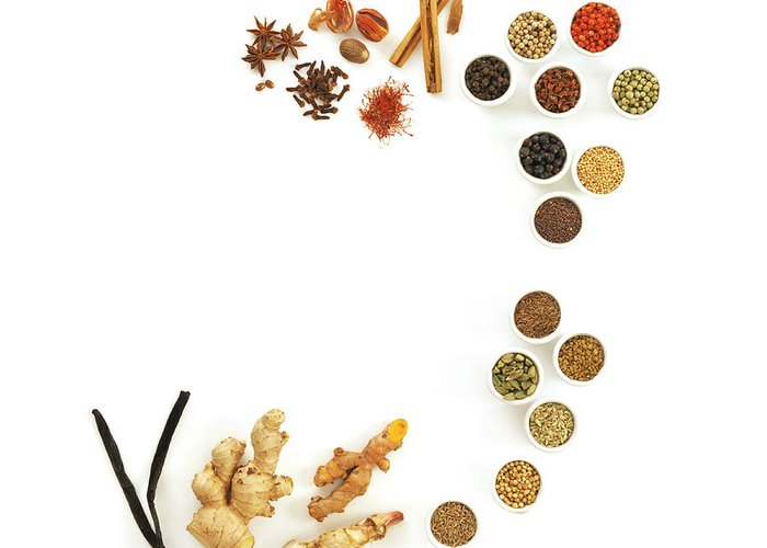 Food Greeting Card featuring the photograph Assortment Of Spices by David Munns
