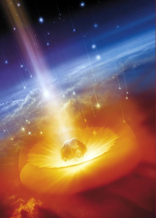 Earth Greeting Card featuring the photograph Asteroid Impacting The Earth, Artwork by Detlev Van Ravenswaay
