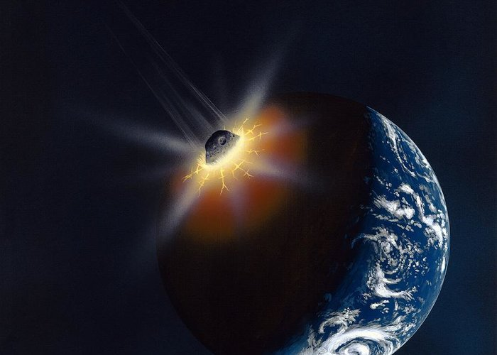 Earth Greeting Card featuring the photograph Asteroid Impacting The Earth, Artwork by Richard Bizley