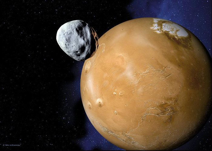 Mars Greeting Card featuring the photograph Asteroid Near Mars, Artwork by Detlev Van Ravenswaay