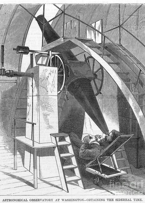 1869 Greeting Card featuring the photograph Astronomer, 1869 by Granger