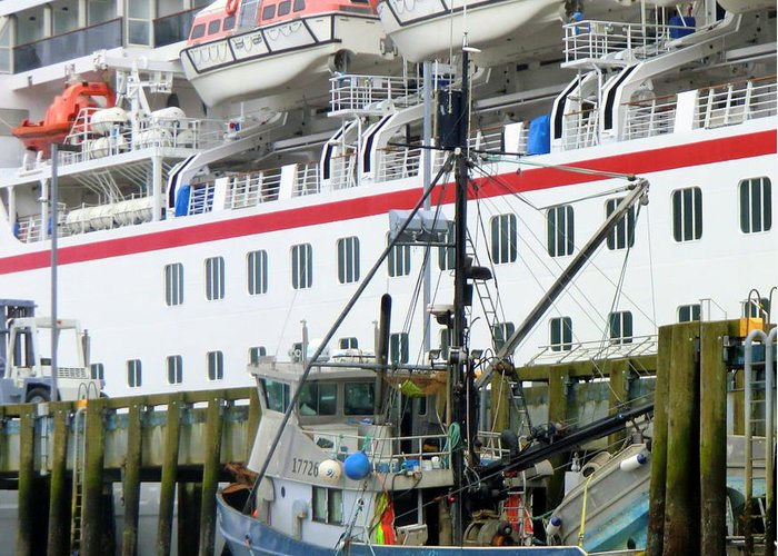 Ship Greeting Card featuring the photograph At Port by Mindy Newman