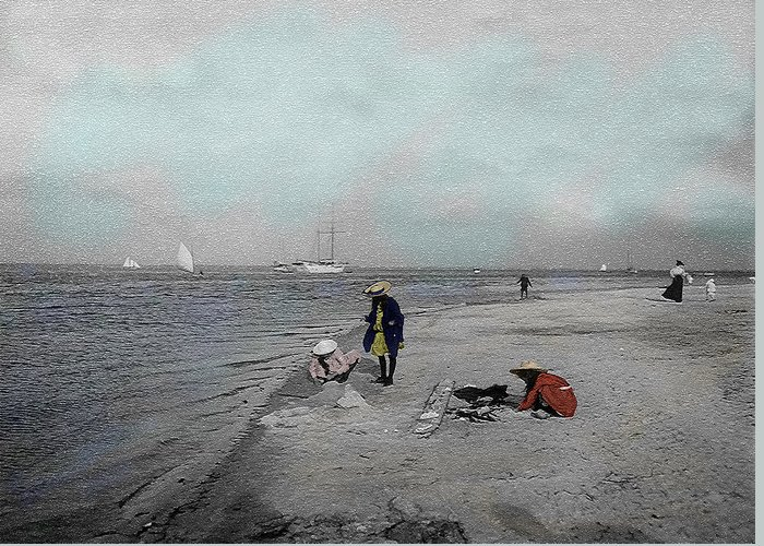 Victorian Greeting Card featuring the photograph At The Beach by Andrew Fare