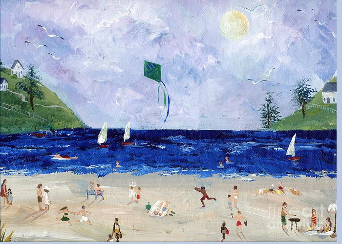 Lake Greeting Card featuring the painting At The Beach by Sylvia Pimental