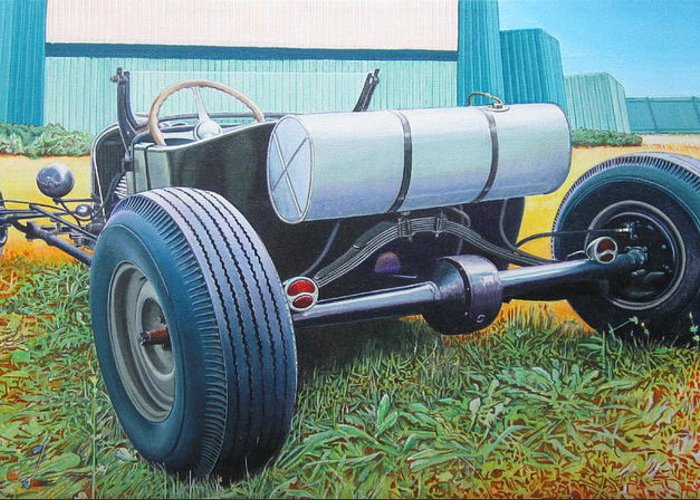 Hot Rod Greeting Card featuring the painting At The Drive In by Jeff Taylor