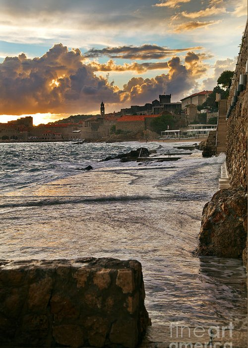 Seascape Greeting Card featuring the photograph At The Edge Of The World by Madeline Ellis