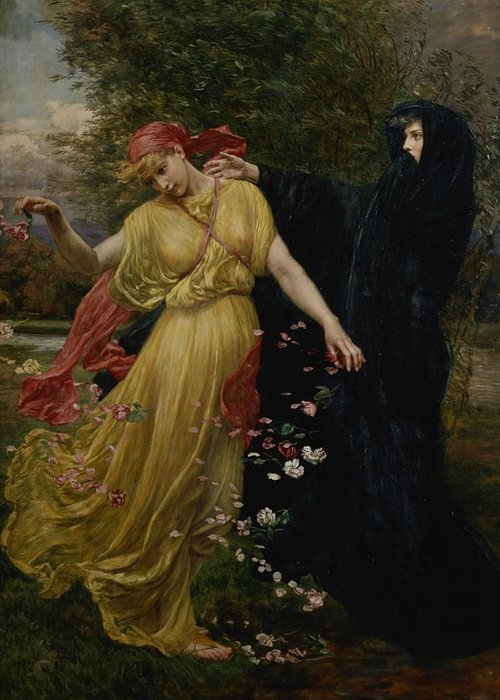 Grb; Head; Scarf ;petals; Cloak; Allegorical Greeting Card featuring the painting At The First Touch Of Winter Summer Fades Away by Valentine Cameron Prinsep