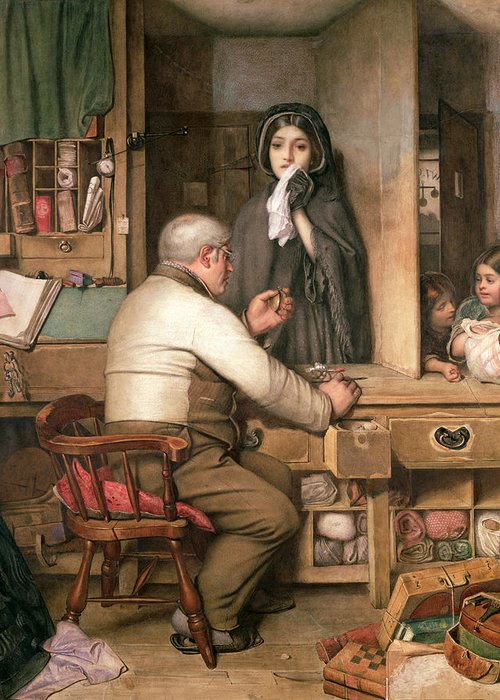 Female;violin;widow;pawnbroker;loan;poverty;pawning;distraught;poor;victorian;widows Weeds;mourning;office;desk;money;preteur Sur Gages Greeting Card featuring the painting At The Pawnbroker by Thomas Reynolds Lamont