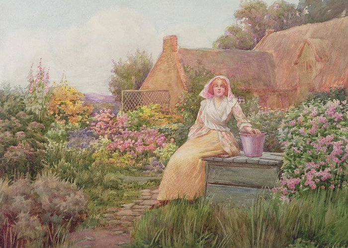 At The Well Greeting Card featuring the painting At The Well by William Ashburner
