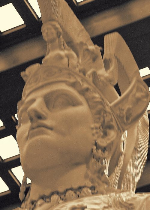 Ancient Greeting Card featuring the photograph Athena Sculpture Sepia by Linda Phelps