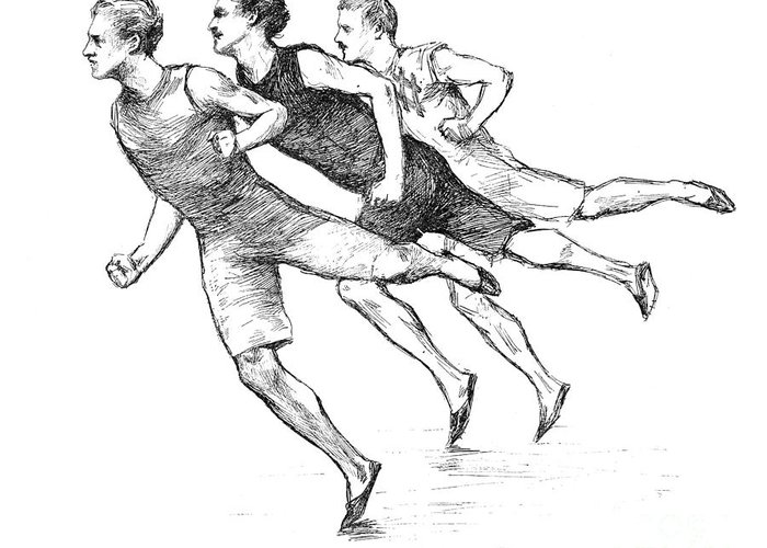 1890 Greeting Card featuring the photograph Athletics: Track, 1890 by Granger