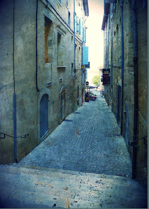 Auch Greeting Card featuring the painting Auch-small Street by Sandrine Pelissier