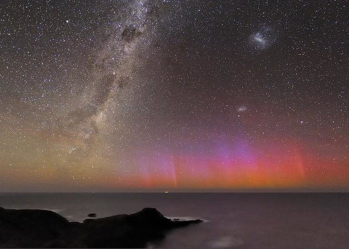 Aurora Australis Greeting Card featuring the photograph Aurora Australis And Milky Way by Alex Cherney, Terrastro.com