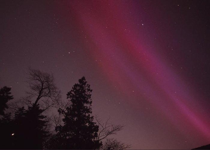 North America Greeting Card featuring the photograph Aurora Borealis Over Jordan Pond by Michael Melford