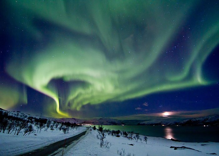 Frank Olsen Greeting Card featuring the photograph Aurora Over The Road by Frank Olsen