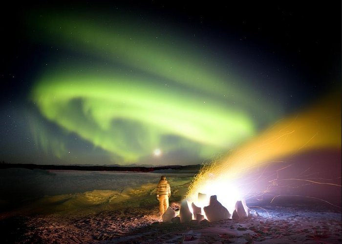 Northern Lights Greeting Card featuring the photograph Aurora Watching, Time-exposure Image by Chris Madeley