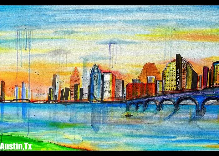 Austin Texas Skyline Buildings J.montee Art Dr Co. Greeting Card featuring the painting Austin Texas by Jose J Montee Montejano