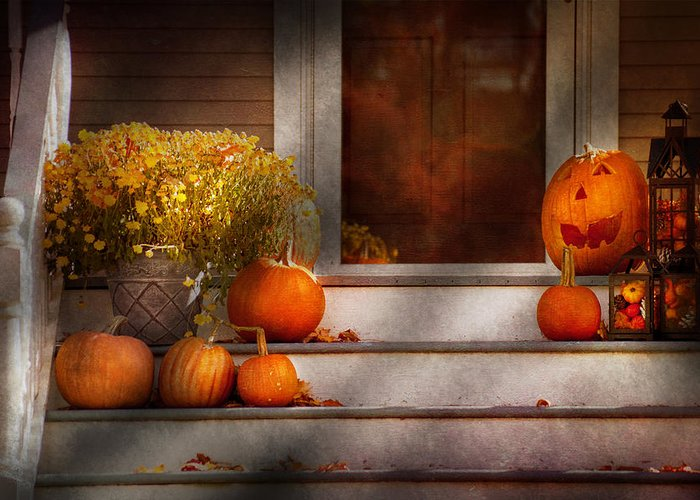 Autumn Greeting Card featuring the photograph Autumn - Halloween - We're All Happy To See You by Mike Savad