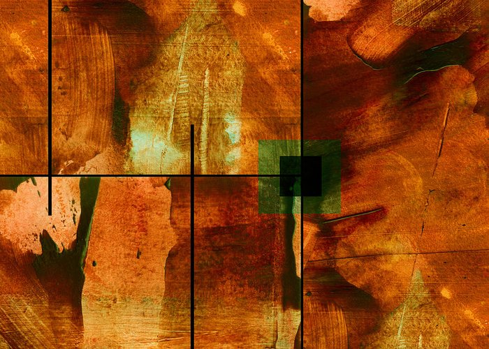 Abstract Greeting Card featuring the mixed media Autumn Abstracton by Ann Powell
