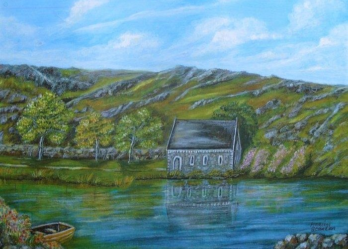 Gougane Barra Greeting Card featuring the painting Autumn At Gougane Barra by Marion Scanlon