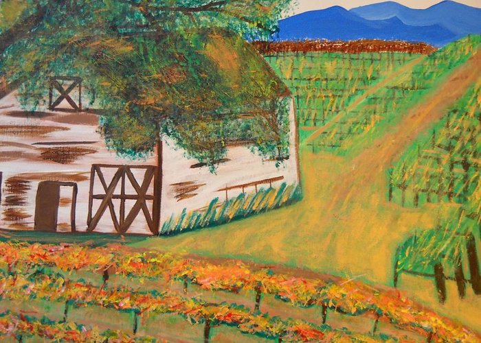 Wine Country Paintings Greeting Card featuring the painting Autumn Barn by Kathleen Fitzpatrick