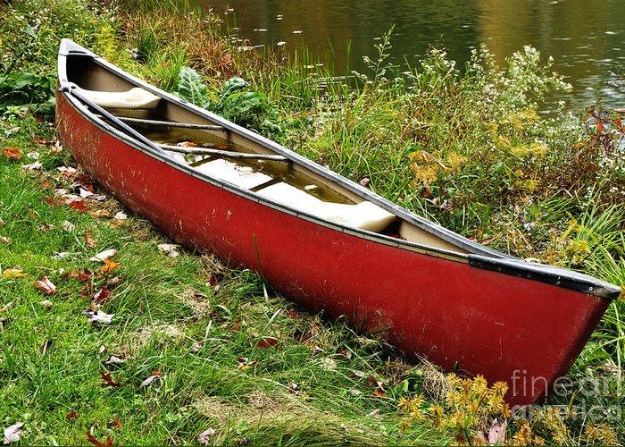 Canoe Greeting Card featuring the photograph Autumn Canoe by Thomas R Fletcher