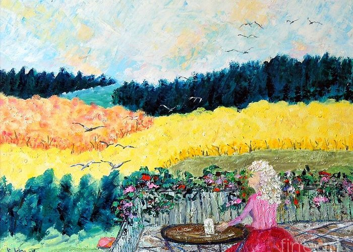 Autumn Greeting Card featuring the painting Autumn Flights of Fancy by Judith Espinoza