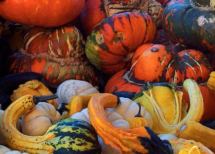 Autumn Art Greeting Card featuring the mixed media Autumn Harvest by Carol Cavalaris
